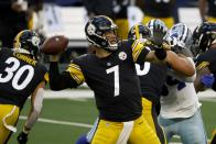 Pittsburgh Steelers quarterback Ben Roethlisberger (7) throws a pass in the first half of an NFL football game against the Dallas Cowboys in Arlington, Texas, Sunday, Nov. 8, 2020. (AP Photo/Ron Jenkins)