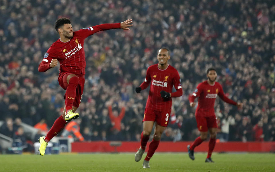 Liverpool's Alex Oxlade-Chamberlain celebrates scoring his side's second goal of the game against Genk . (Photo by  Martin Rickett/EMPICS/PA Images via Getty Images)