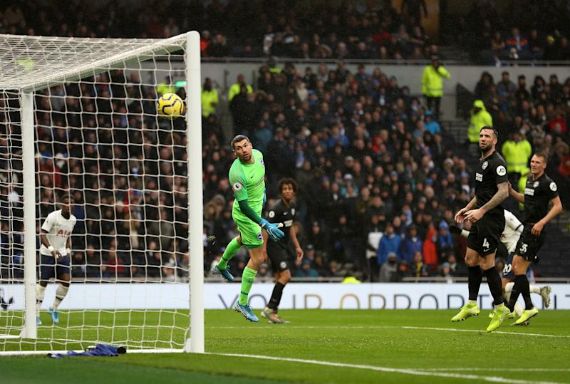 Brighton and Hove Albion goalkeeper Mathew Ryan watches as Tottenham Hotspur's Dele Alli (right, hidden) scores his side's second goal of the game during the Premier League match at the Tottenham Hotspur Stadium, London. (Photo by Bradley Collyer/PA Images via Getty Images)