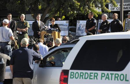 U.S. attorney Laura Duffy speaks during a news conference about a newly discovered drug smuggling tunnel in the Otay Mesa area of San Diego, California October 31, 2013. REUTERS/Denis Poroy