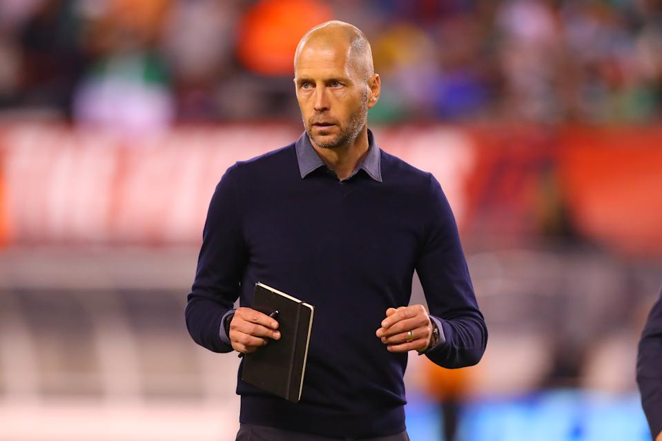 EAST RUTHERFORD, NJ - SEPTEMBER 06:  United States head coach Gregg Berhakter at the end the first half of the International Friendly soccer game between the the United States and Mexico on September 6, 2019 at LetLife Stadium in East Rutherford, NJ.  (Photo by Rich Graessle/Icon Sportswire via Getty Images)