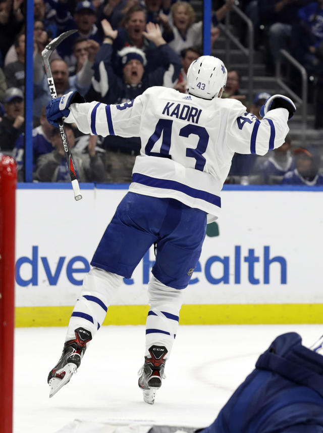 Toronto Maple Leafs center Nazem Kadri (43) celebates his goal against the Tampa Bay Lightning during the first period of an NHL hockey game, Thursday, Jan. 17, 2019, in Tampa, Fla. (AP Photo/Chris O'Meara)
