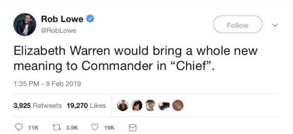 4f4fd4504 Rob Lowe Deletes Tweet Joking About 'Chief' Elizabeth Warren After ...