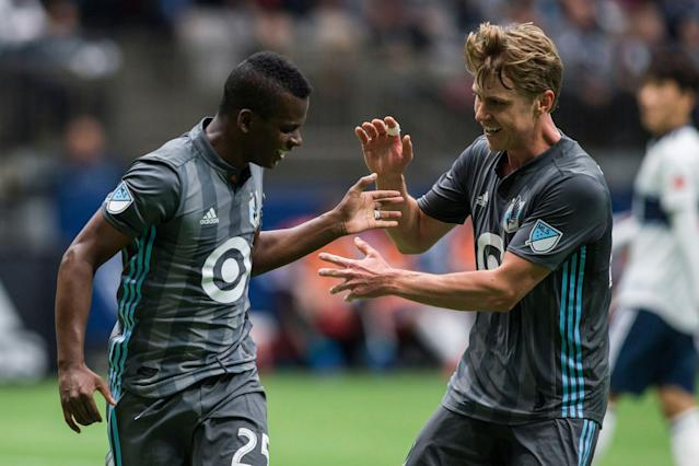 "<a class=""link rapid-noclick-resp"" href=""/soccer/players/399503/"" data-ylk=""slk:Darwin Quintero"">Darwin Quintero</a> (left), Rasmus Schuller and Minnesota United are off to a surprisingly hot start. (Associated Press)"