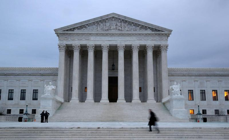 A man walks the steps of the US Supreme Court on January 31, 2017: Mark Wilson/Getty