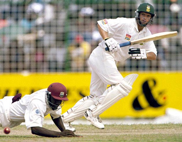 10 Mar 2001: Gary Kirsten hits a 4 pass silly mid-on during the South Africa v West Indies 1st Test  Bourda Stadium  Georgetown Guayana West Indies  Day 2. Photo Credit:  Duif du Toit/Touchline Photo. DIGITAL IMAGE Mandatory Credit: Touchline Photo/ALLSPORT
