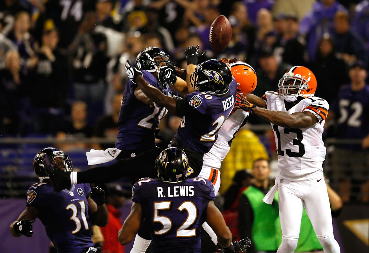 BALTIMORE, MD - SEPTEMBER 27:  Free safety Ed Reed #20 of the Baltimore Ravens breaks up a pass in the end zone intended for tight end Jordan Cameron #84 of the Cleveland Browns late in the fourth quarter during the NFL Game at M&T Bank Stadium on September 27, 2012 in Baltimore, Maryland.  (Photo by Rob Carr/Getty Images)