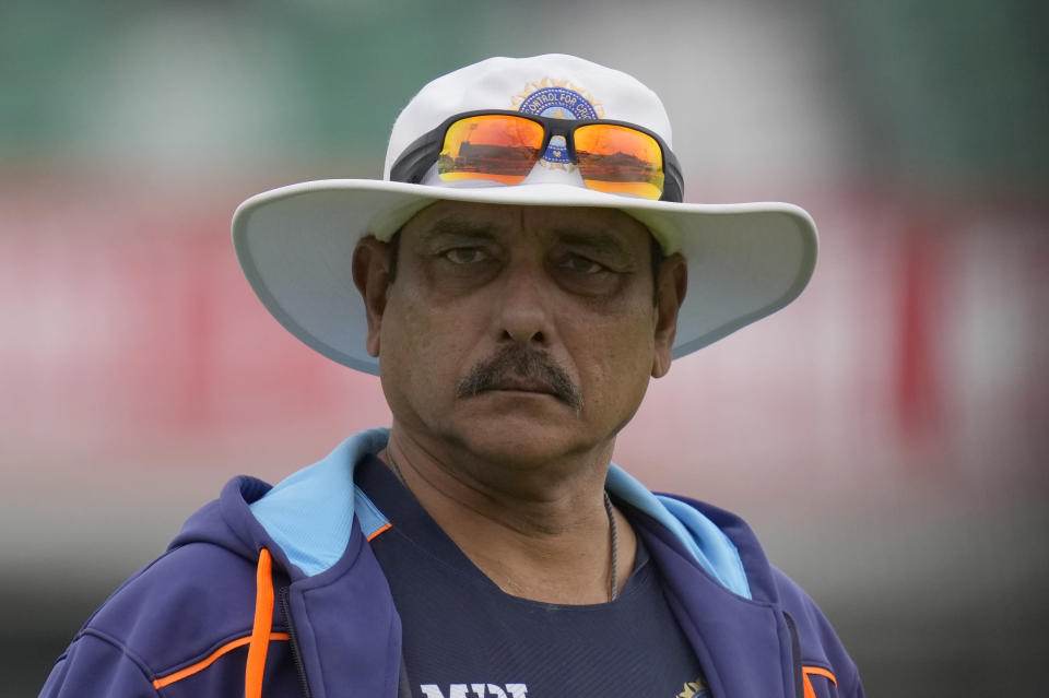 India's head coach Ravi Shastri walks on the pitch ahead of the start of play on the first day of the 4th cricket Test between England and India at The Oval cricket ground in London, Thursday, Sept. 2, 2021. (AP Photo/Kirsty Wigglesworth)