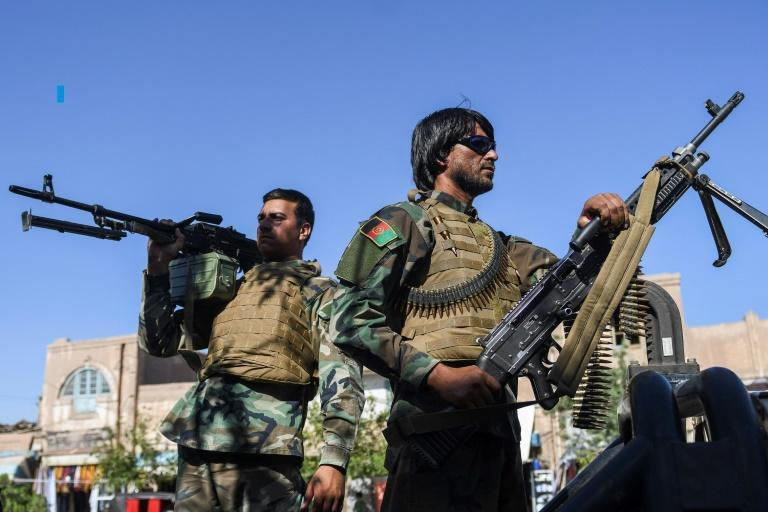 Afghan security personnel on alert during the Eid al-Adha prayers in Herat on July 20, 2021