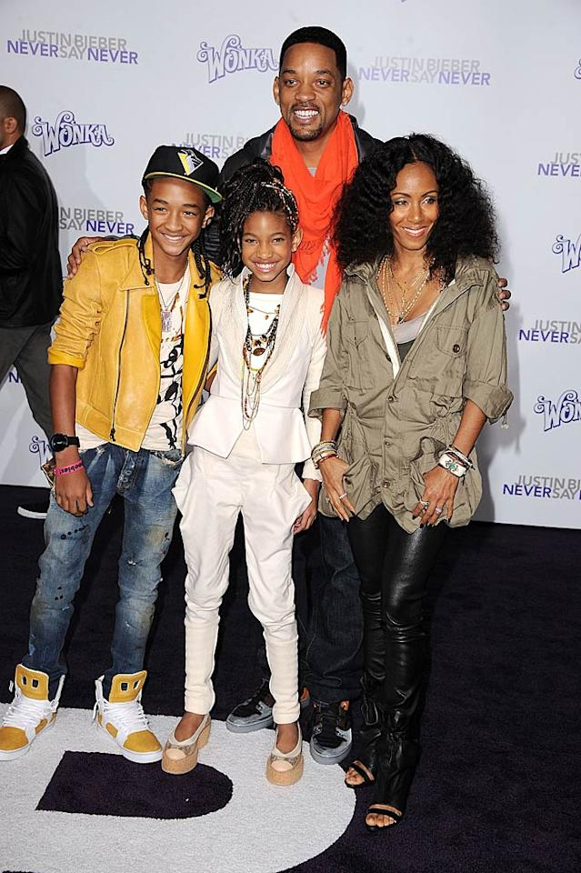 "Hollywood's newest pocket-sized superstars -- Jaden and Willow Smith -- hit the red carpet at the premiere of their buddy Justin Bieber's new film ""Never Say Never"" Tuesday night with their parents Will and Jada. 10-year-old Willow recently told <i>Teen Vogue</i> that Justin is ""like my big brother. I don't have a crush on him."" Steve Granitz/<a href=""http://www.wireimage.com"" target=""new"">WireImage.com</a> - February 8, 2011"