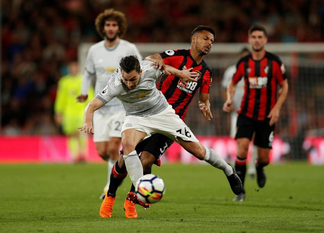 "Soccer Football - Premier League - AFC Bournemouth vs Manchester United - Vitality Stadium, Bournemouth, Britain - April 18, 2018 Manchester United's Matteo Darmian in action with Bournemouth's Lys Mousset Action Images via Reuters/John Sibley EDITORIAL USE ONLY. No use with unauthorized audio, video, data, fixture lists, club/league logos or ""live"" services. Online in-match use limited to 75 images, no video emulation. No use in betting, games or single club/league/player publications. Please contact your account representative for further details."