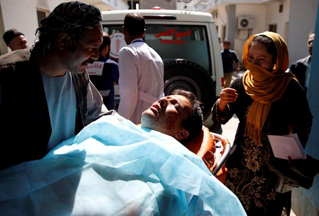 An injured person is seen in a hospital after a blast in Kabul, Afghanistan March 21, 2018. REUTERS/Mohammad Ismail TPX IMAGES OF THE DAY