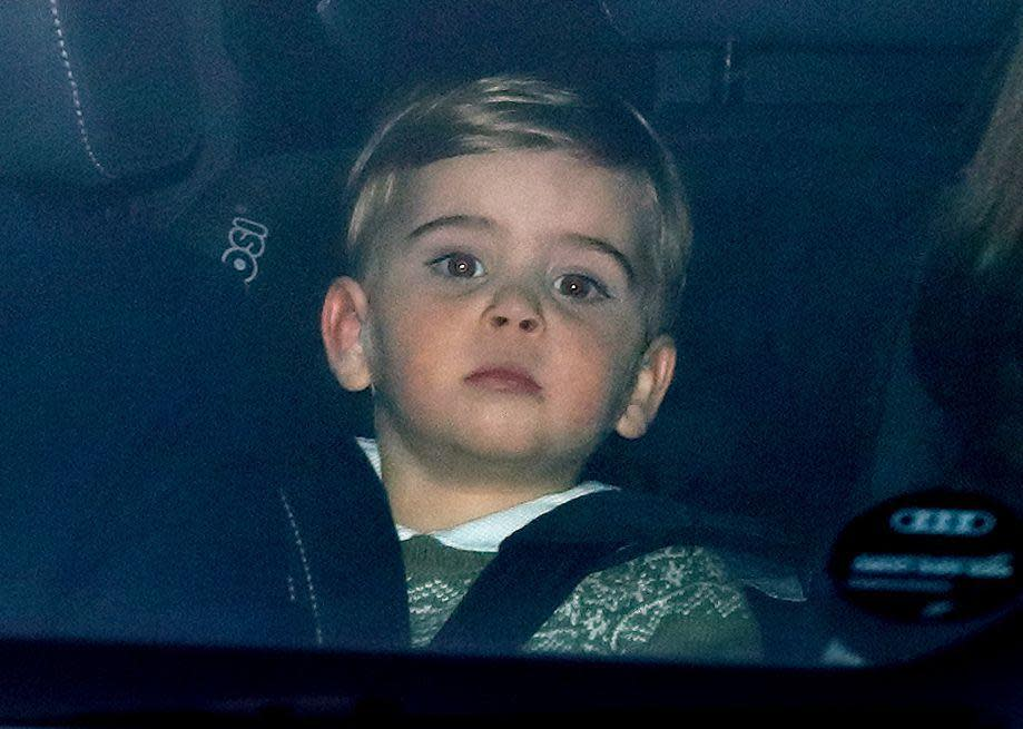 <p>The royal youngster was spotted in the backseat of a car on the way to a royal Christmas luncheon hosted by Queen Elizabeth at Buckingham Palace.</p>