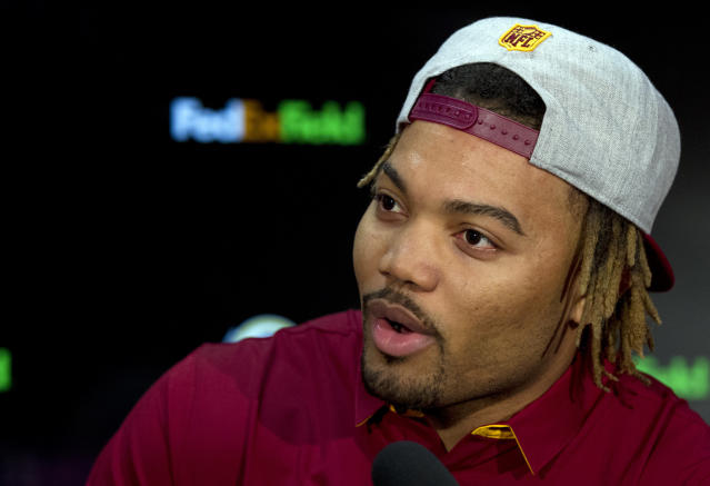 Redskins player Derrius Guice, second round selection of the 2018 NFL Draft speaks at a news conference, during Redskins 2018 Draft Fest, in Landover, Md., Saturday, April 28, 2018. (AP Photo/Jose Luis Magana)