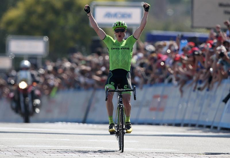 Ben King of the United States riding for Cannondale Pro Cycling celebrates as he wins stage two of the 2016 Amgen Tour of California from South Pasadena to Santa Clarita on May 16, 2016 in Santa Clarita, California