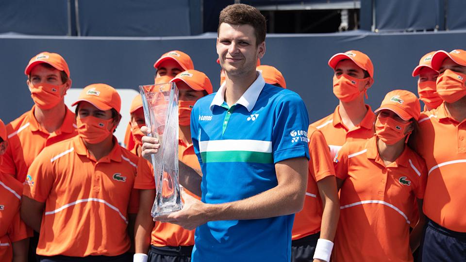 Hubert Hurkacz, pictured here with the tournament trophy after wining the Miami Open.