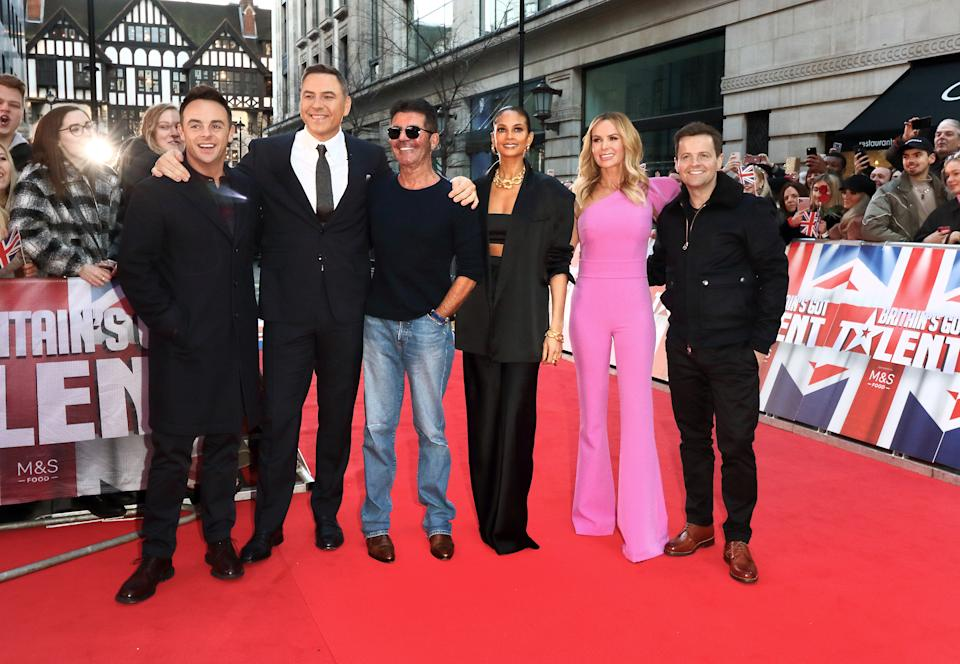 Anthony McPartlin, David Walliams Simon Cowell, Alesha Dixon, Amanda Holden and Declan Donnelly attend the Britain's Got Talent Auditions Photocall at the London Palladium. (Photo by Keith Mayhew / SOPA Images/Sipa USA)