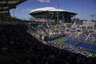 Corentin Moutet, of France, returns a shot to Matteo Berrettini, of Italy, during the second round of the US Open tennis championships, Thursday, Sept. 2, 2021, in New York. (AP Photo/Seth Wenig)