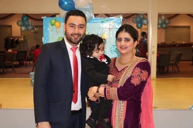 Shubhdeep Kaur with her husband and toddler son. She says Fort St. John's official recognition of Sikh culture helps to make the city more inclusive. (Submitted by Shubhdeep Kaur - image credit)
