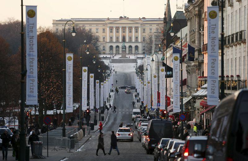 File photo shows the Royal Palace at the end of Karl Johans Gate in Oslo