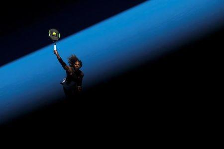 Serena Williams of the U.S. serves during her Women's singles third round match against Nicole Gibbs of the U.S. during the Australian Open at Melbourne Park in Melbourne, Australia, January 21, 2017. REUTERS/Jason Reed/File Photo