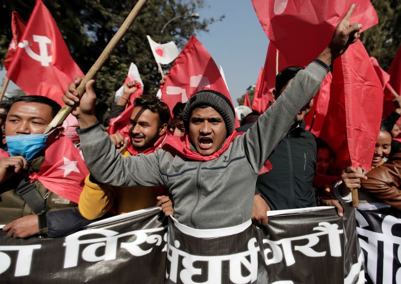 Protest against the dissolution of the parliament in Kathmandu