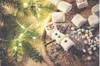 """<p>Set a timer for a minute, and see who can make the most """"snowmen"""" by stacking mini marshmallows on top of each other. You need three to make a stack (but, no, they don't need faces or arms). Too easy? Try making everyone use chopsticks. Use the leftovers in some cocoa. </p>"""