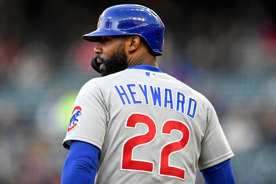 CLEVELAND, OH - MAY 11, 2021: Jason Heyward #22 of the Chicago Cubs stands at third base in the sixth inning of a game against the Cleveland Indians at Progressive Field on May 11, 2021 in Cleveland, Ohio. (Photo by: 2021 Nick Cammett/Diamond Images via Getty Images)