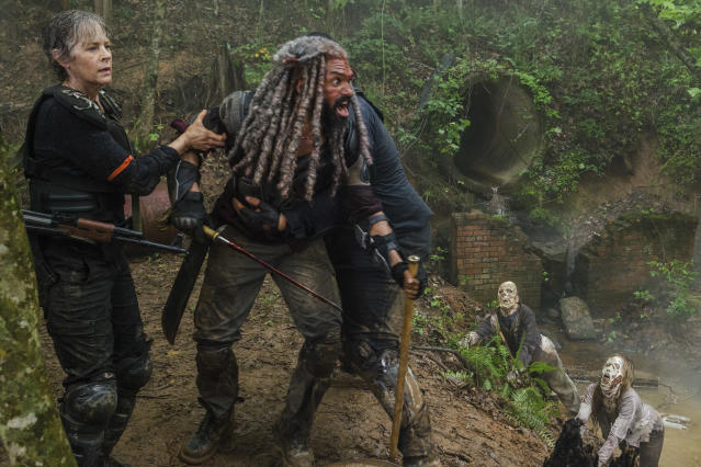 <p>Khary Payton as Ezekiel and Melissa McBride as Carol Peletier in AMC's <i>The Walking Dead.><br> (Photo: Gene Page/AMC)</i> </p>