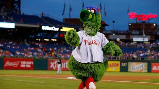 PHOTO: The Phillie Phanatic taunts the Miami Marlins before a game against the Philadelphia Phillies at Citizens Bank Park on Sept. 17, 2016, in Philadelphia. (Rich Schultz/Getty Images, FILE)