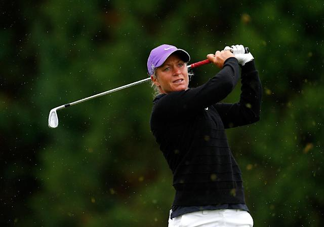 Suzann Pettersen tees off on the 2nd hole during the third round of the LPGA Portland Classic on August 30, 2014 in Portland, Oregon (AFP Photo/Jonathan Ferrey)