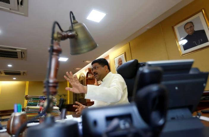 India's Oil Minister Pradhan speaks during an interview with Reuters in New Delhi