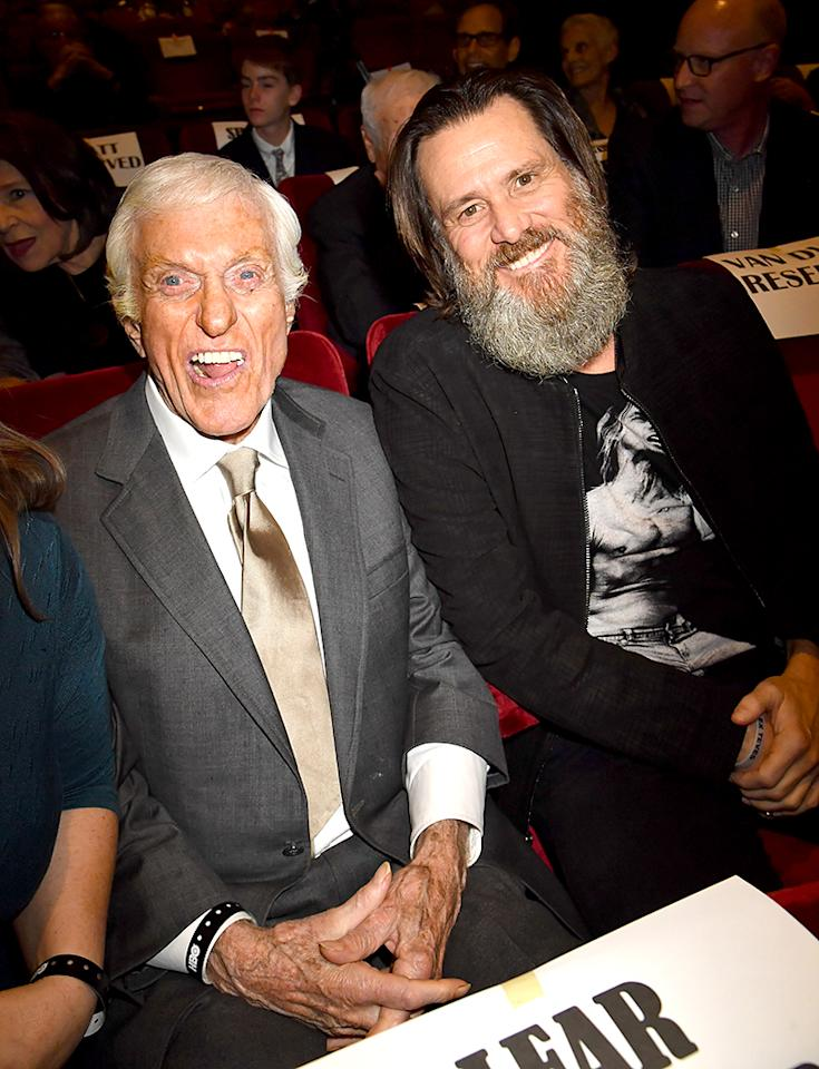 <p>The comedy legends surely caused mischief sitting beside each other at the premiere of the HBO doc <i>If You're Not in the Obit, Eat Breakfast</i>, which features Van Dyke, 91, and other stars who are in their 90s. (Photo: Jeff Kravitz/FilmMagic) </p>