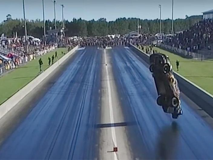 ford mustang shadow drag race crash fly the drive