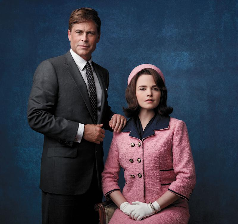 """This image released by National Geographic Channels shows Rob Lowe as President John F. Kennedy, left, and Ginnifer Goodwin as Jackie Kennedy in """"Killing Kennedy."""" The film, based on Fox News host Bill O'Reilly and Martin Dugard's book by the same name, chronicles the events that culminated with the assassination of the nation's 35th president on Nov. 22, 1963. It airs Sunday on National Geographic Channel. ??(AP Photo/National Geographic Channels, Kent Eanes)"""