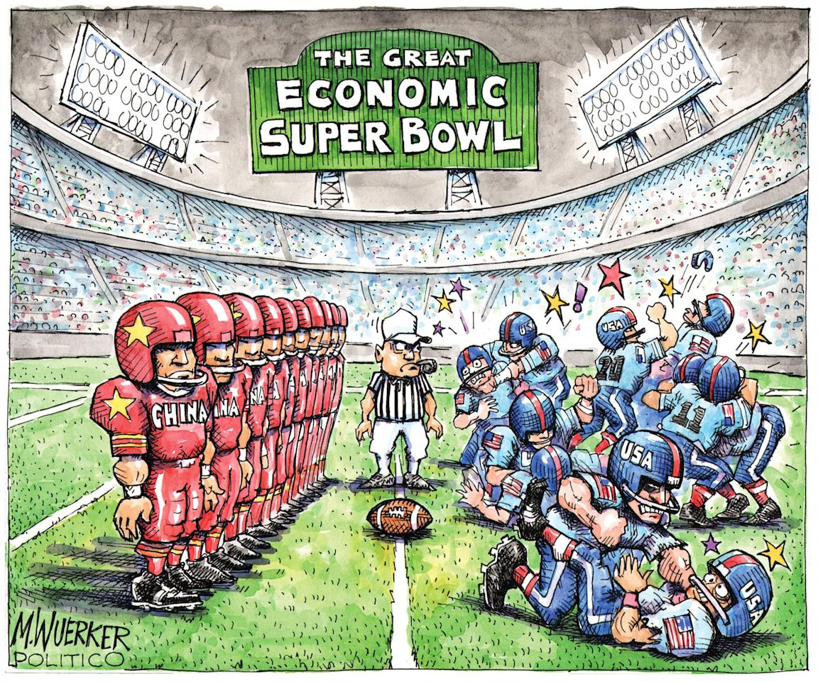 This cartoon by Matt Wuerker, of Politico, provided by the Pulitzer Prize Board, was awarded the 2012 Pulitzer Prize for Editorial Cartooning, announced in New York, Monday, April 16, 2012. (AP Photo/Politico, Matt Wuerker via Pulitzer Prize Board)