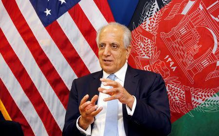 U.S. special envoy for peace in Afghanistan, Zalmay Khalilzad, speaks during a roundtable discussion with Afghan media at the U.S Embassy in Kabul, Afghanistan January 28, 2019. U.S Embassy/ Handout via REUTERS