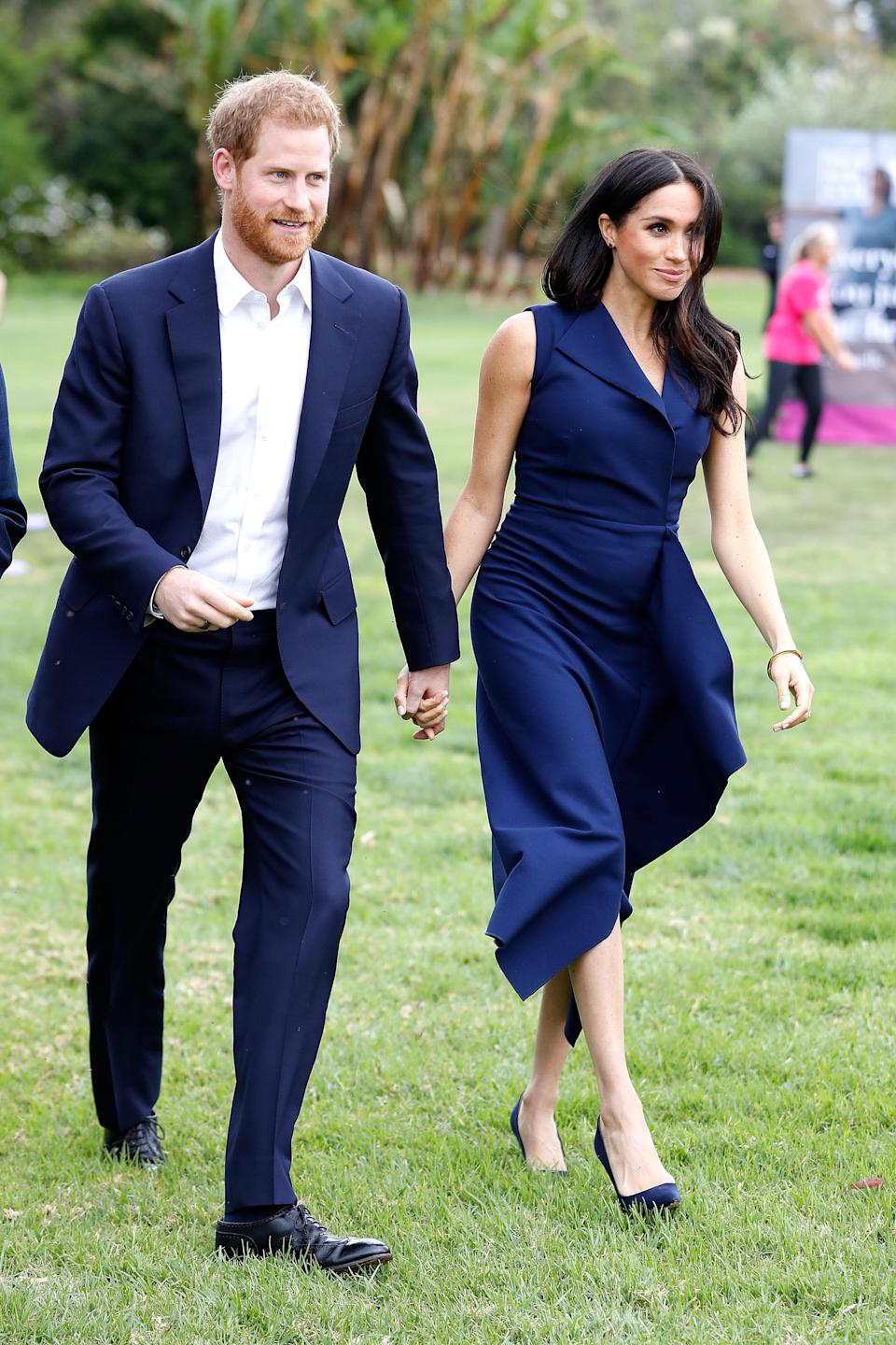 Earlier in the day Prince Harry and Meghan Markle greeted fans. Photo: Getty