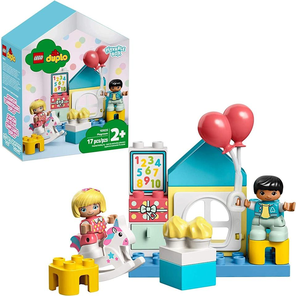 "<p>The <a href=""https://www.popsugar.com/buy/Lego-Duplo-Playroom-551154?p_name=Lego%20Duplo%20Playroom&retailer=amazon.com&pid=551154&price=15&evar1=moms%3Aus&evar9=47243673&evar98=https%3A%2F%2Fwww.popsugar.com%2Ffamily%2Fphoto-gallery%2F47243673%2Fimage%2F47243768%2FLego-Duplo-Playroom&list1=toys%2Ctoy%20fair%2Ckid%20shopping%2Ckids%20toys&prop13=api&pdata=1"" class=""link rapid-noclick-resp"" rel=""nofollow noopener"" target=""_blank"" data-ylk=""slk:Lego Duplo Playroom"">Lego Duplo Playroom</a> ($15) has 17 pieces and is best suited for toddlers ages 2 and up.</p>"