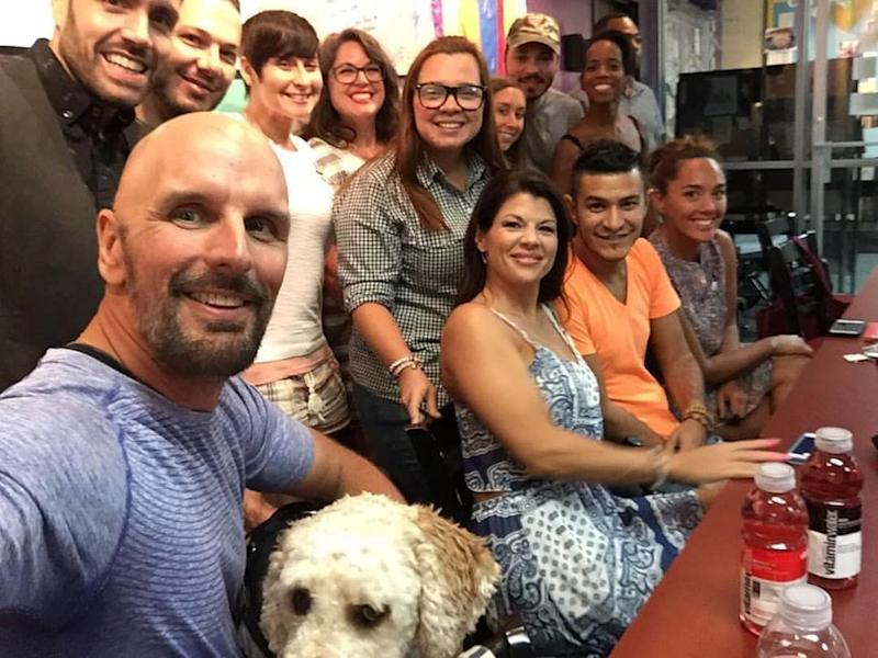Dave Fortier (far left), who co-founded the nonprofit One World Strong, meets with survivors of the Pulse nightclub shooting in Orlando, Florida. (One World Strong)