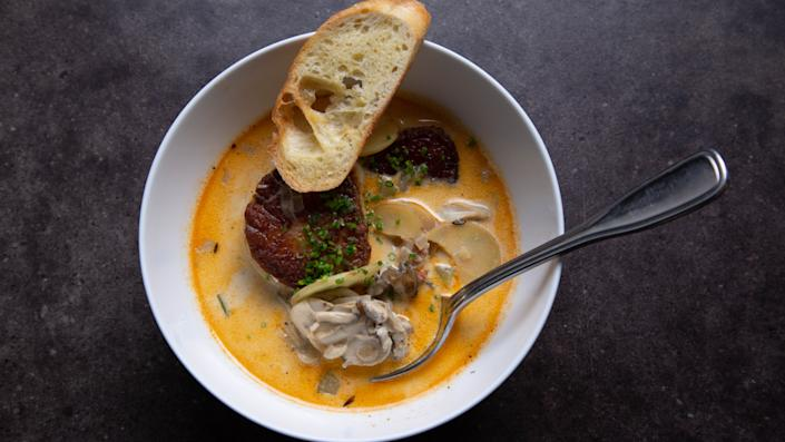 Montauk Oyster Chowder with Scallops is a warming Thanksgiving staple in Zimmern's family.