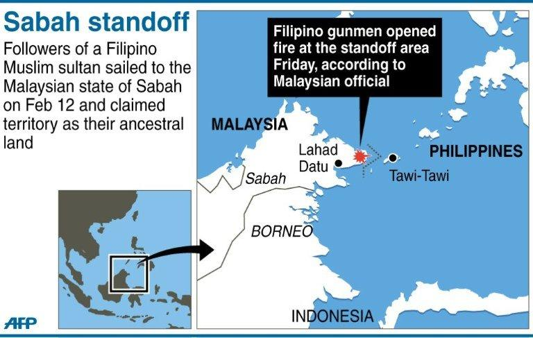 Graphic showing Malaysia's Sabah, where Malaysian forces are facing off with followers of a Filipino Muslim sultan who are claiming the territory as their ancestral land