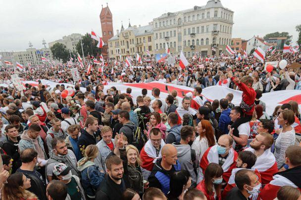 PHOTO: Demonstrators fill the streets of Minsk, Belarus, Sunday, Aug. 23, 2020. Demonstrators are taking to the streets, keeping up their push for the resignation of the nation's authoritarian leader, president Alexander Lukashenko. (Sergei Grits/AP)