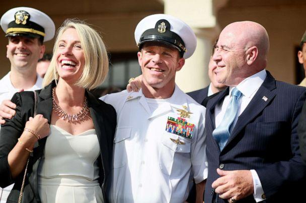 PHOTO: Navy Special Operations Chief Edward Gallagher celebrates with his wife Andrea after being acquitted of premeditated murder at Naval Base San Diego. July 2, 2019, in San Diego, Calif. (Sandy Huffaker/Getty Images, FILE)