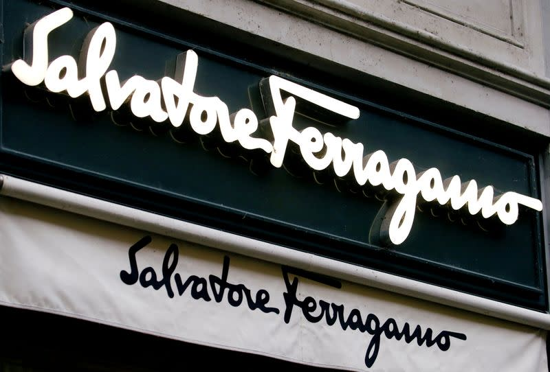 Italian luxury fashion house Salvatore Ferragamo's logo is seen at a store, as the spread of the coronavirus disease (COVID-19) continues, in Zurich