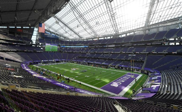 A general view of the Minnesota Vikings' U.S. Bank Stadium, where the team says fans won't be allowed during the 2020 season because of increasing coronavirus cases