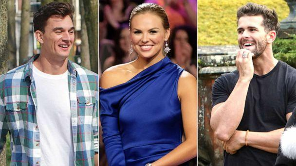 PHOTO: From left, Tyler C., Hannah Brown and Jed appear on an episode of 'The Bachelorette.' (ABC)