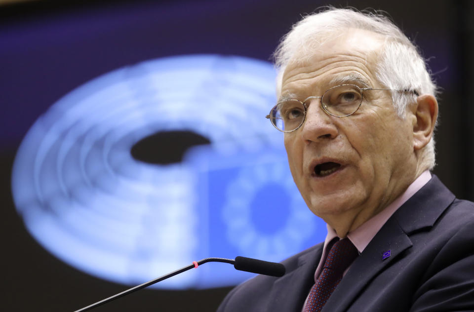 European Union foreign policy chief Josep Borrell speaks during a debate, regarding his recent trip to Russia, during a plenary session at the European Parliament in Brussels, Tuesday, Feb. 9, 2021. (Olivier Hoslet, Pool via AP)