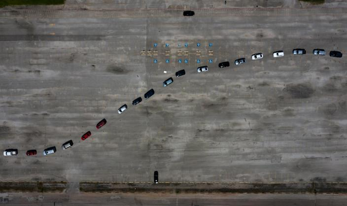 Image: Residents wait in their cars at a COVID-19 testing site in Houston on July 9, 2020. (Adrees Latif / Reuters)