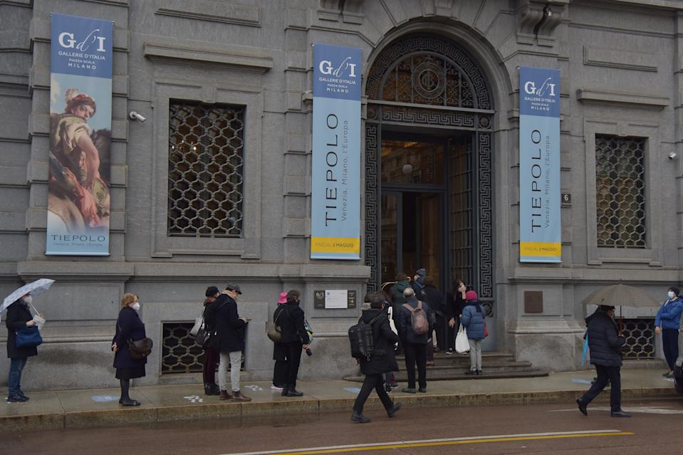 Foto Gian Mattia D\'Alberto - LaPresse 09-12-2021 Milano Cronaca Riapertura musei a Milano nella foto: Gallerie d'Italia in piazza della Scala Ph Gian Mattia D\'Alberto - LaPresse 2021-02-09 Milan Museum reopening in Milan in the photo: tGallerie d'Italia in Scala square